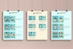 Illustrazioni di buone pratiche per la postura